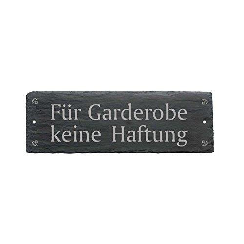 Schild « FÜR GARDEROBE KEINE HAFTUNG » aus Schiefer - ca.22 x 8 cm - Türschild