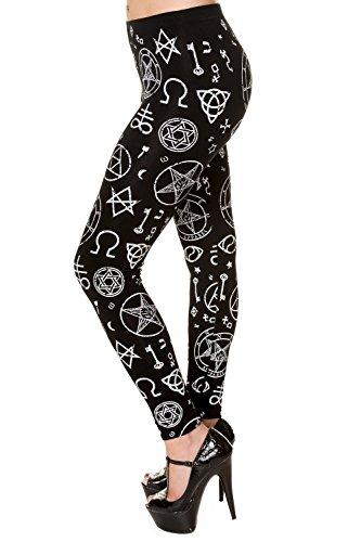 Banned Pentagram Leggings nero XS