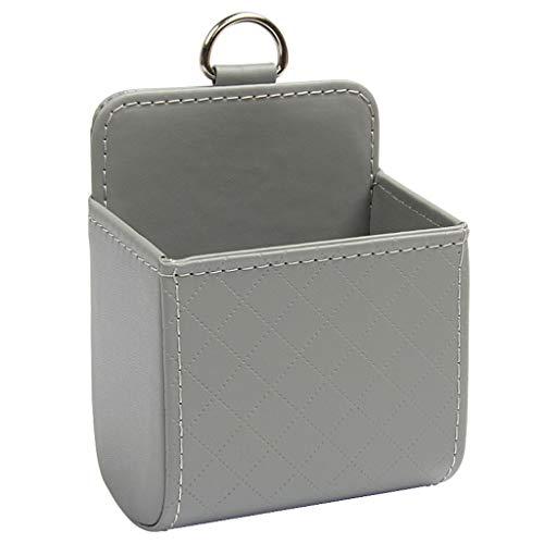 Cxp Boutiques -Kofferraumtaschen Leder Auto Air Outlet Box Solide Lagerung Eimer Handy Halter Tasche Verschleißfeste kältebeständige Anti-Aging (Color : Gray)