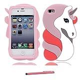 Coque pour iPhone 4 / 4S, Le Nouveau Silicone Mou de Dessin animé drôle 3D Mignon [ & Stylet ] [Protecteur de Chute] étui pour iPhone 4 / 4s - élégant Unicorn Licorne