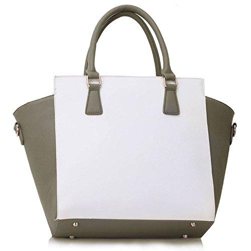 Sacs à main Zipper de Nice Grand fourre-tout Sacs à bandoulière LeahWard femmes Blanc/Gray