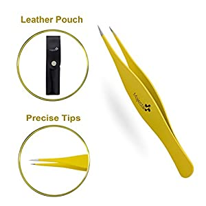 Precision Tweezers for Ingrown Hair - Best Stainless Steel Professional Pointed Tweezer – Eyebrow and Splinter Removal Tweezers, Pointed Tip for Stubble, Facial Hair- Perfectly Aligned Tips in Yellow, 100% Money-Back Guarantee of Satisfaction!