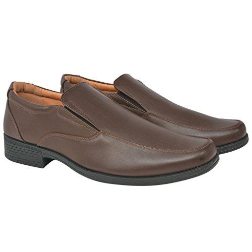 Festnight Klassische Herrenschuhe Herren-Slipper Halbschuhe PU-Leder Kunstlederschuhe Männer-Schuhe Braun Größe 44 (Klassische Braun Halbschuhe)