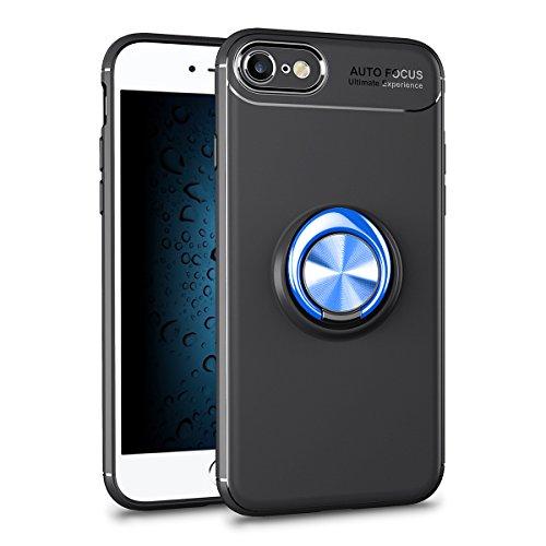 Ring Hülle iPhone 7, iPhone 7 Handyhülle Ring Holder, SpiritSun TPU Handyhalterung Standplatz Auto Finger Halter 360°Rotation Tasche Kompatibel mit Magnetic Car Mount für Apple iPhone 7/8(4.7 Zoll)-blau + schwarz Hülle (Iphone 6 Ersatz-bildschirm Blau)