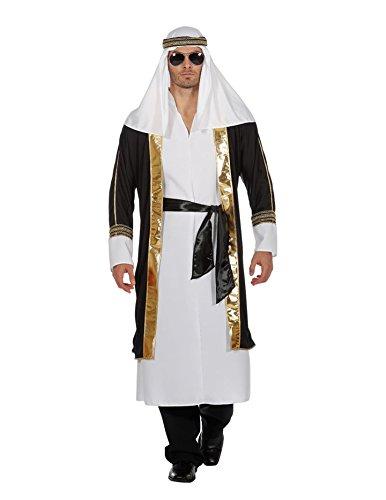 Wilbers Scheichkostüm Kostüm Scheich Araber Naher Osten 1001 Nacht Herrenkostüm Karneval Weiß/Schwarz ()