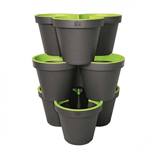 GELI 3er Säulen-Pflanztopf 2-farbig Kräuterschnecke Blumentopf zum Stapeln, Geli Durchmesser/Höhe:ca. 60 cm / ca. 44 cm, Farbe:anthrazit/apfelgrün