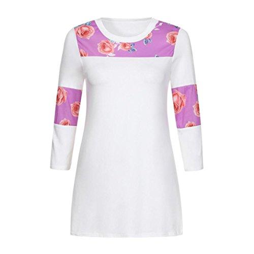 Damen Mode Gedruckt 3/4-Arm Tops DOLDOA Oberteile T-Shirt Bluse