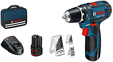 Bosch Professional GSR 12V-15 Accuschroevendraaier, 2 x 2,0 accu, 12 volt, 39-delig accessoireset, schroef Ø max: 7 mm,...