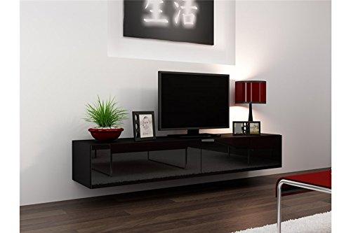 Meuble TV Design Suspendu Vito 180cm - Noir
