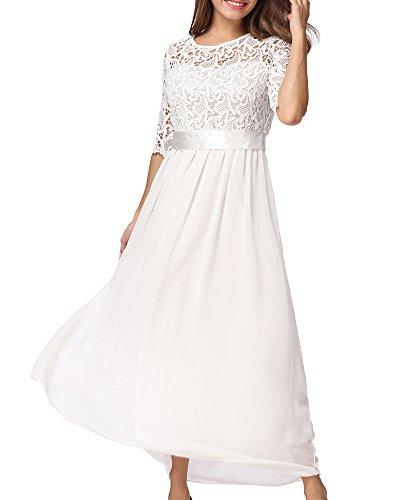Romacci Damen Chiffon Spitze Kleid halbe Hülsen Maxi Kleid Party Kleid (Kleid Spitze Maxi Damen)