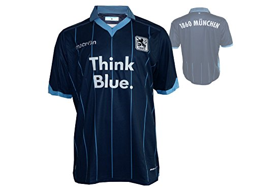 Macron TSV 1860 München Away Fußball Jersey M15 Löwen Auswärts Fusball Fan Trikot dunkelblau, Größe:3XL