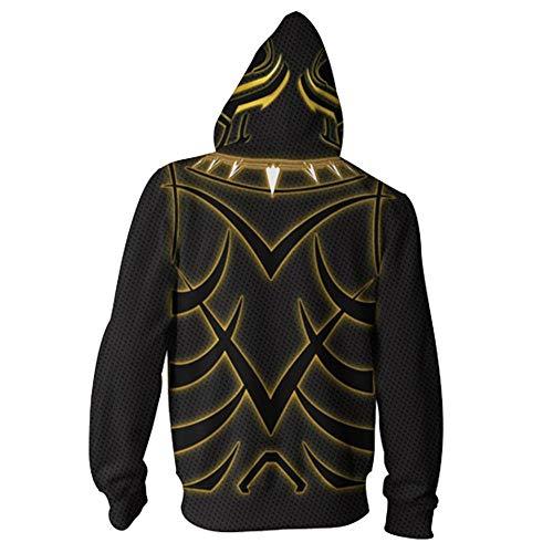 RJHWY 3D Hoodie Sweatshirt Unisex Pullover Kapuzenjacke Kleidung Mantel Reißverschluss Black Panther XXS