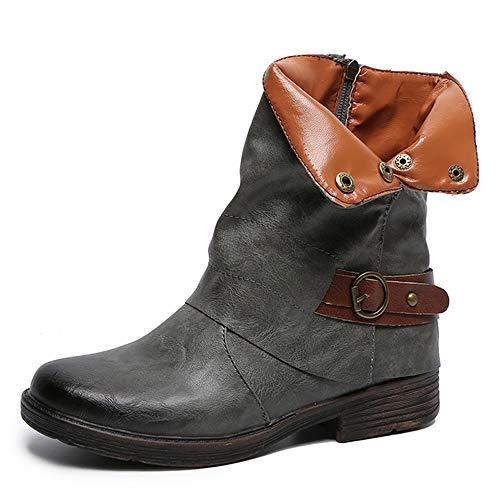 Yvelands Damenstiefel Stiefeletten Damen Herbst Winter Aushöhlen Stiefeletten Damen Heel Halb Martin Stiefel Schuhe Casual Boots Freizeit