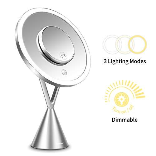 Morpilot Kosmetikspiegel mit 60 LEDs Beleuchtet und 5-fach Vergrößerungsspiegel Make-Up-Spiegel mit 3 Beleuchtungsstufen Schminkspiegel Dämmerungsschalter USB-Betrieb (Silber)