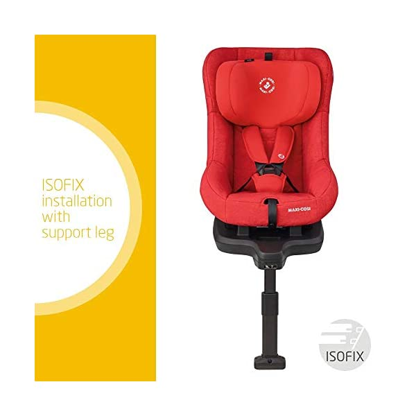 Maxi-Cosi TobiFix Toddler Car Seat Group 1, Forward-Facing ISOFIX Car Seat, 9 Months-4 Years, 9-18 kg, Nomad Red Maxi-Cosi Seat fits solid and secure using the car's isofix Very easy adjustment of safety harness and headrest height 3 comfortable recline positions from sitting to sleeping 2