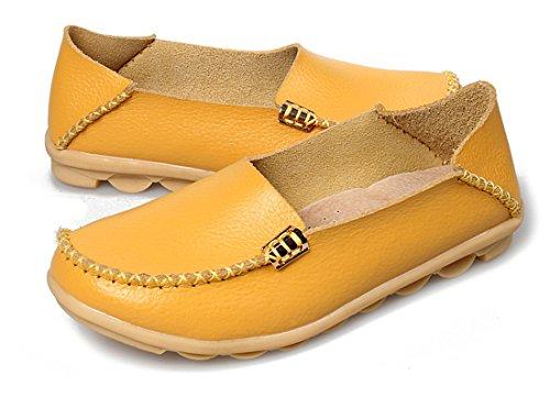 Auspicious beginning Chaussures Mocassins en Cuir Pour Dames Jaune