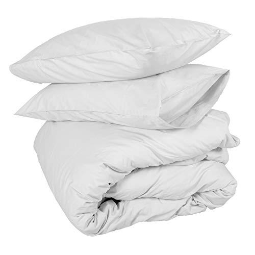 Homescapes 3 TLG Bettwäsche 260 x 220 cm weiß aus 100% Reiner ägyptischer Baumwolle Fadendichte 200