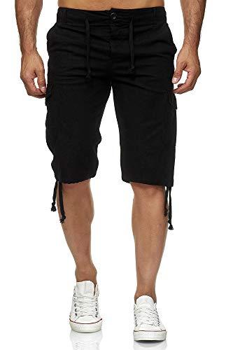 Reslad Leinen Cargo Shorts Männer Strandhose Herren Leinenhose 3/4 Hose Freizeit Kurze Hosen Sommer Bermudas RS-3001 Schwarz M