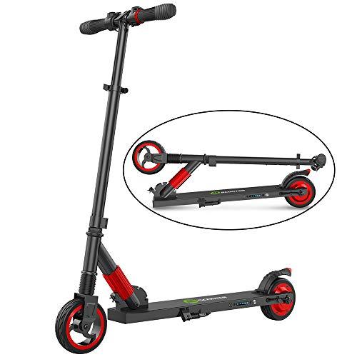 mysticall Elektroroller für Erwachsene, Faltbarer Elektroscooter mit Einer Höchstgeschwindigkeit von (S1-3-RED 6inch)
