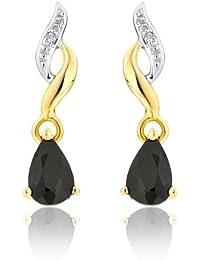 Boucles d'oreille - A79ER080207SAYG - Pendientes de mujer de oro amarillo (9k) con diamantes y zafiros