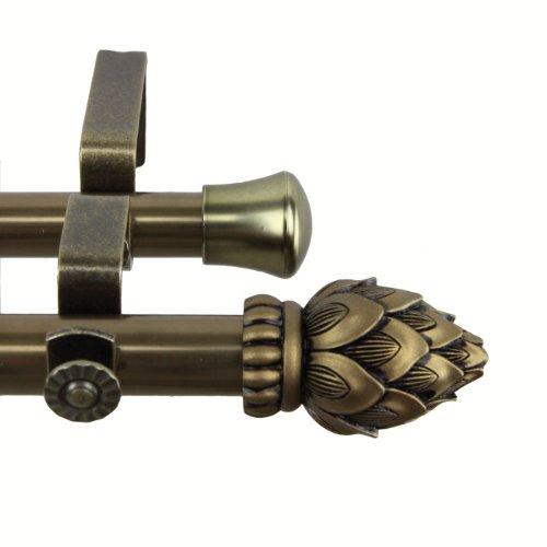Antike Messing Doppel-arm (Rod desyne Bud Doppel Gardinenstange, Messing antik-Optik, 28 by 48