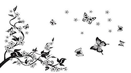 Wandtattoo Blumenranke Ast Schmetterling Wohnzimmer Ornament Schlafzimmer Wandaufkleber Wandsticker Blumenranke Herbst Frühling Natur