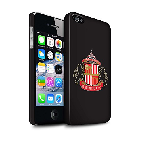 Offiziell Sunderland AFC Hülle / Matte Snap-On Case für Apple iPhone 4/4S / Pack 6pcs Muster / SAFC Fußball Crest Kollektion Schwarz