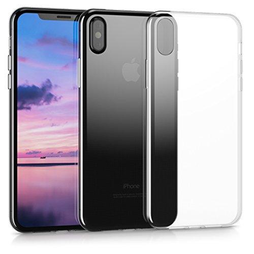 kwmobile Cover per Apple iPhone X - Custodia in silicone TPU - Back case protezione posteriore per cellulare rosso scuro metallizzato .trasparente