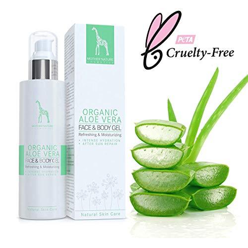 BIO-Aloe Vera Gel mit 95% reinem Aloe Vera Saft - NATURKOSMETIK VEGAN - 200 ml made in Austria by Mother Nature Cosmetics - hochwirksames, verwöhnendes Feuchtigkeitsgel für den Körper, klebt nicht -