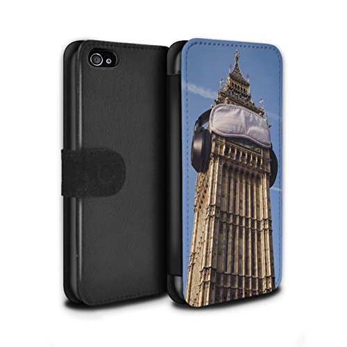 Stuff4 Coque/Etui/Housse Cuir PU Case/Cover pour Apple iPhone 4/4S / Faire Demi-Tour Design / Imaginer Collection Paresseux Matin