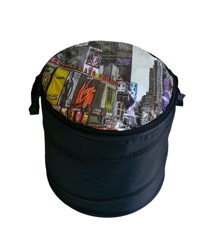 Trendfinding Wäschetonne mit Reißverschluss New York Time Square Wäschesammler Wäsche Tasche Sammler Sortierer Tonne schwarz New York Skyline