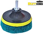 BUFFKING - Power Scrub Set Pack (GREEN) HARD Density - Attached with Drill Machines And M10 Angle Grinders