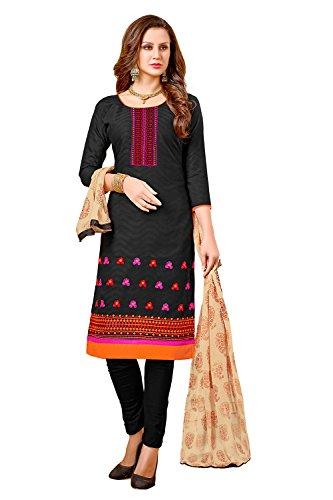 AppleCreation Cotton dress materials for women (7JSM7004_Black_Free Size)