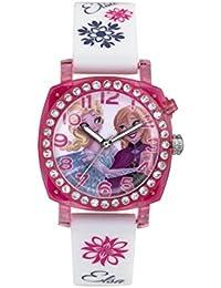 Frozen Kinder Quarz-Uhr mit Zifferblatt Analog-Anzeige und Weiß Gummiband-fzn3789