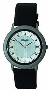 Bernex Swiss Made Gents Titanium Textured silver Dial Quartz Wrist Watch leather strap