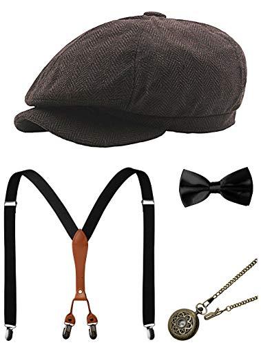 Hosenträger Gangster Kostüm - Zivyes 1920s Herren Accessoires Gatsby Gangster Kostüm Zubehör Set Manhattan Fedora Hut Hosenträger Fliege Taschenuhr (2-Coffee)