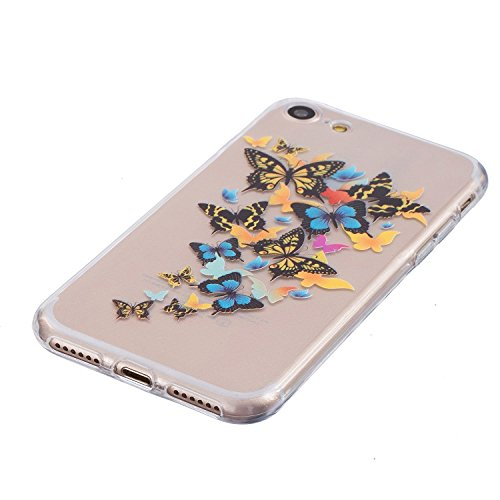 Coque iPhone 6 6s Housse étui-Case Transparent Liquid Crystal Mandala en TPU Silicone Clair,Protection Ultra Mince Premium,Coque Prime pour iPhone 6 6s-Licorne Papillon