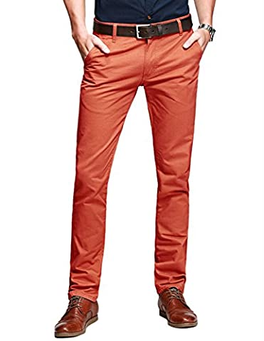 Match Pantalons Casual Slim Tapered pour Homme #8025(8025 Orange,29(FR