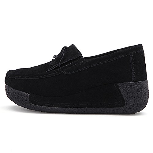 c9ab91bfa1e HKR Womens Ladies Platform Loafers Flats Wedge Suede Moccasins Tassel Wide  Width Comfort Woking Shoes