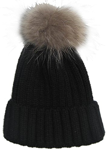 Frauen-Winter-Hut-warmer Hut Moderner Gestrickter Hut mit Pompon, Schwarz