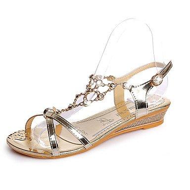 Rtry Heels Summer Premiers Marcheurs Pu Office & Amp; Carrière Sportswear Wedge Buckle Heel Noir Argent Or Marche Us6 / Eu36 / Uk4 / Cn36