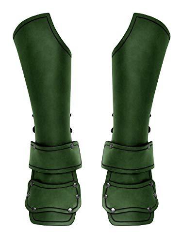 Andracor - Panzerhandschuhe aus schwerem Leder mit Armschutz - Armschienen wie Bazuband Handschuhe mit Schnallen in Grün - LARP Mittelalter Wikinger & Steampunk