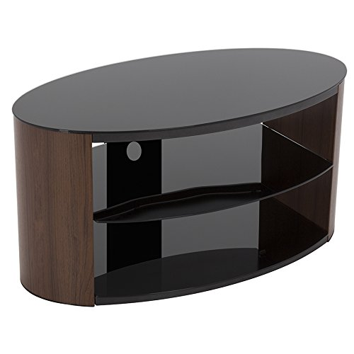 Walnut Effect Oval Tv Stand With Black Glass Top & Shelves For Tvs Up To 40