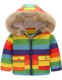 ☺HWTOP Daunenmantel Kleinkind Baby Mädchen Jungen Baumwollmantel Cartoon Auto Print Steppjacke Winter Warme Streifen Regenbogen Jacke mit Kapuze Winddicht Übergröße Mäntel