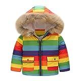 HEETEY Baby Mädchen Winter Mantel Lange Ärmel Streifen Regenbogen Winter warme Jacke Winddichter Mantel mit Kapuze Warme Baumwollkleidung aus Plüsch
