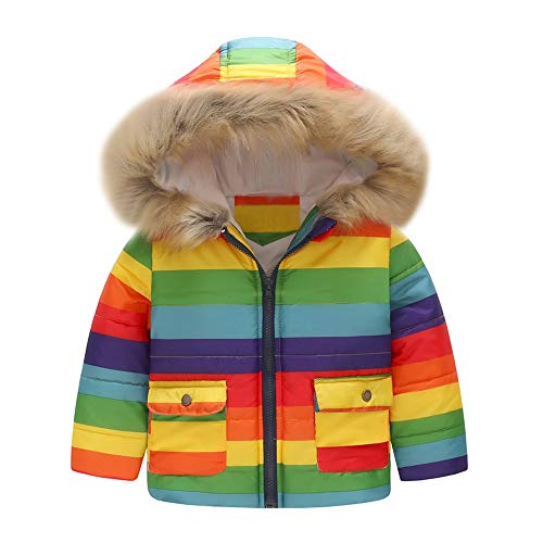 Muium Newborn Baby Girl Stripe Rainbow Hooded Coats Thick Winter Warm Long Sleeve Windproof Jackets Clothes for 1-6 Years Old