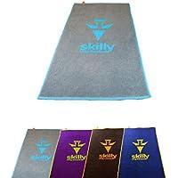 skilly Retro FIT Sporthandtuch/Fitnesshandtuch   Perfekt für Das Fitnessstudio  Bicolor Fitnesshandtuch mit Elastisches Band zur Befestigung an Trainingsgeräten 