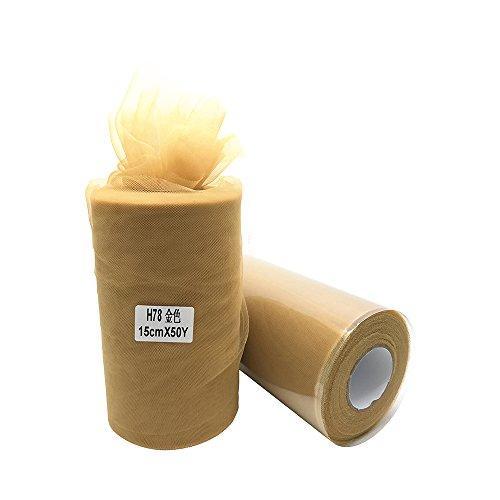 Super Soft 15,2cm X 50Meter (150ft) Tüll Rolle-Tutu Rock Baby Dusche Kleid Hochzeit Decor Nähen Handwerk Einpacken Stoff Party Dekoration & 43Farben gold