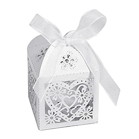 AKA® 50pcs Laser Cut Wedding Hollow Love Heart Wedding Favor Candy Gifts Boxes Ivory White (White)