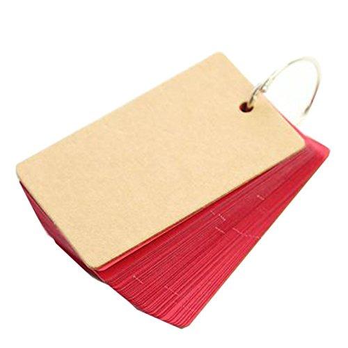 Cosanter Leere Note Pad,Wortkarten,Notizblöcke mit Ring,1x50 Blatt,90x55mm,Rot